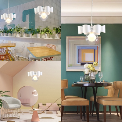 Creative Orb Shade Pendant Light with Bow 1 Light Metal Hanging Light in White for Kid Bedroom