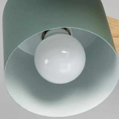 Cylinder Dining Room Ceiling Light Metal 4 Lights Nordic Style Semi Flush Mount Light in Macaron Green