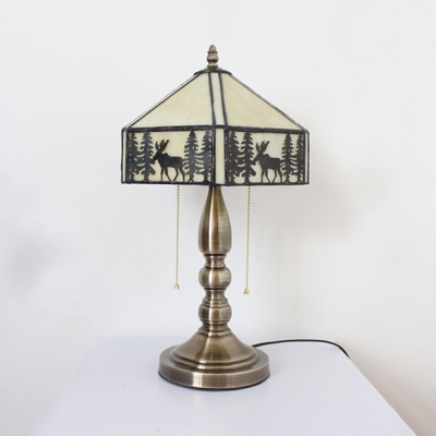 Deer/Mediterranean/Rose/Victorian Table Light with Pull Chain Rustic Tiffany Stained Glass Desk Light for Cafe