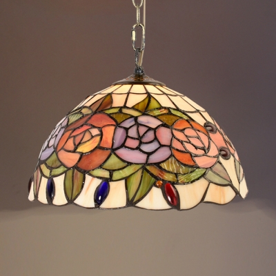Dome Shade Hanging Light with Bloom Tiffany Rustic Pendant Light for Restaurant Living Room