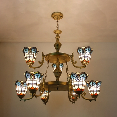 Dome Shade Pendant Lamp 9 Lights Victorian Style Stained Glass Hanging Light for Living Room