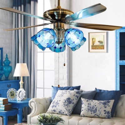Dome Shade Villa Ceiling Fan Wood 4 Blade 5 Shade Tiffany Semi Ceiling Lamp with Pull Chain
