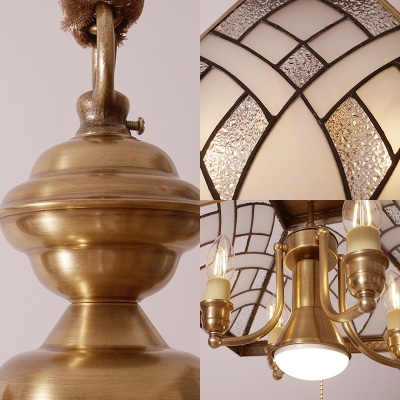 Glass Craftsman Pendant Lamp with Pull Chain 5 Lights Tiffany Antique Ceiling Lamp in Gold for Hotel