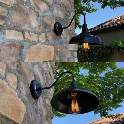 Industrial Black Finish Wall Sconce Barn Shade 1 Head Metal Sconce Light for Restaurant