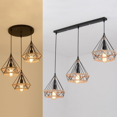 Diamond Wire Frame Pendant Light