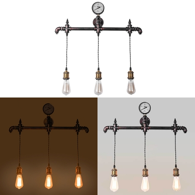 Industrial Stylish Rust Wall Light Open Bulb 3 Lights Metal Hanging Wall Sconce for Restaurant
