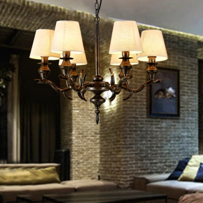 Living Room Tapered Shade Chandelier Metal 6 Lights Rustic Style White Hanging Lamp