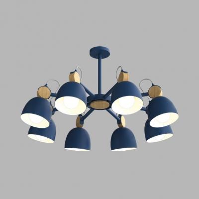 Macaron Loft Domed Chandelier 3/6/8 Lights Metal Suspension Light in Blue/Coffee/Gray for Villa