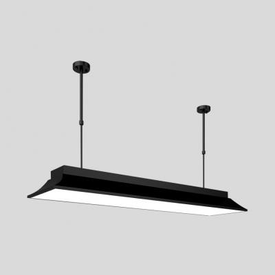 Meeting Room Linear Pendant Light Acrylic 35.5/47 Inch Modern Black LED Ceiling Light in Warm/White