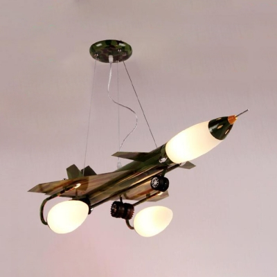 Metal Fighter Aircraft Chandelier Modern Blue/Green Camouflage Pendant Lamp for Child Bedroom