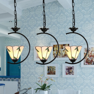 Modern Bloom/Grid/Leaf Pendant Light Glass 1 Light Black Ring Ceiling Lamp for Living Room
