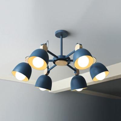 Nordic Style Dome Chandelier Rotatable Metal 6 Lights Blue/Gray/Khaki Pendant Light for Living Room