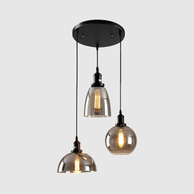 Round Canopy Hallway Pendant Light Smoke Gray Glass 3/4 Lights Industrial Hanging Light in Black
