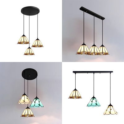 Rustic Linear Round Canopy Pendant Light Stained Glass 3