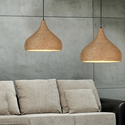 Single Head Onion Hanging Light Height Adjustable Rustic Style Rope Ceiling Pendant in Beige for Restaurant