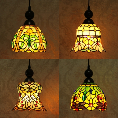 Stained Glass Bell/Dome Hanging Light 1 Light Tiffany Rustic Ceiling Light for Cafe Villa