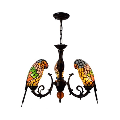 Stained Glass Parrot Chandelier 3 Lights Tiffany Style Rustic in Blue/Red Hanging Light for Balcony