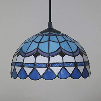 Study Room Peacock Tail Hanging Light Stained Glass Tiffany Style Blue Ceiling Lamp with Plug In Cord