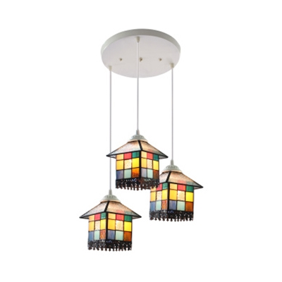 Tiffany Antique House Hanging Lamp 3 Heads Stained Glass Ceiling Light for Restaurant Cafe