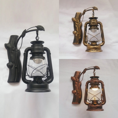 Vintage Stylish Kerosene Wall Lamp Metal 1 Light Black/Brass/Copper Hanging Sconce for Corridor
