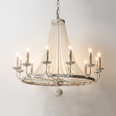 White Candle Shape Chandelier 5/6/8/12 Lights American Rustic Metal and Clear Crystal Beads Pendant Lighting for Living Room
