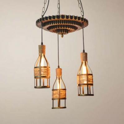 Wine Bottle Cafe Hanging Light with Gear Metal 3 Lights Vintage Style Ceiling Pendant in Brass, HL533830