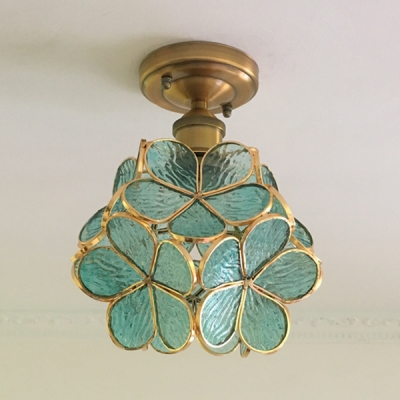 1 Light Floral Flush Mount Light Creative Glass Ceiling Light in Blue/Clear/Green/Pink for Hallway