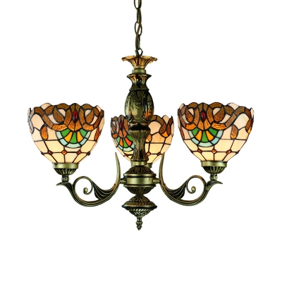 3 Lights Dome Pendant Lamp Tiffany Style Baroque Stained Glass Chandelier for Restaurant
