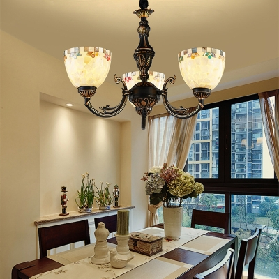 3 Lights Dome Shade Chandelier Tiffany Style Antique Glass Hanging Lamp in White for Study Room