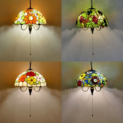 3 Lights Flower Grape Suspension Light Rustic Stained Glass Pendant Lamp With Pull Chain For