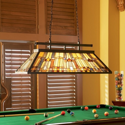 Square Billiard Table Island Light Stained Glass 6 Lights Tiffany Antique Island Pendant