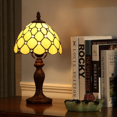 Simple Style Grid Bowl Table Light 1 Light Glass Resin Desk Lamp with Beads in Beige for Study Room