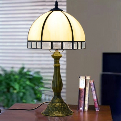 Glass Umbrella Shade Desk Light Study Room One Light Simple Style Plug-In Table Lamp in Beige