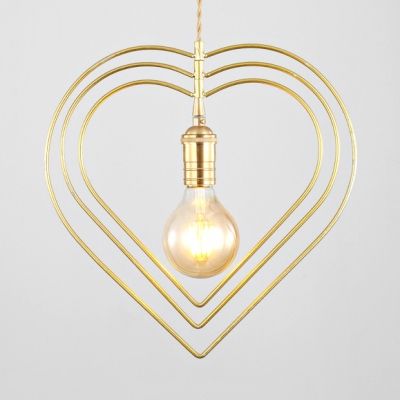 Romantic Heart Shape Pendant Light 1 Light Metal Suspension Light in Gold for Bedroom Living Room