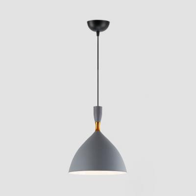 Black/Gray/White Pendant Light One Light Modern Style Aluminum Hanging Light for Restaurant