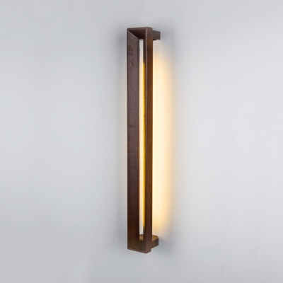 Asian Style Linear Wall Light Wood Brown Led Sconce With