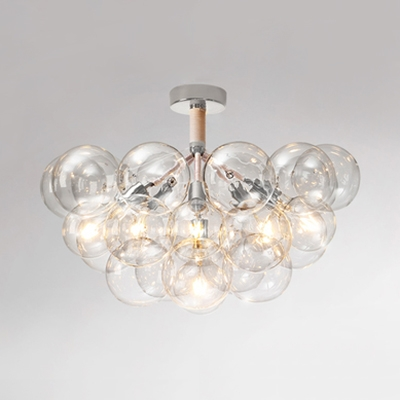 Hallway Bubble LED Semi Flush Ceiling Light Clear Glass 3/4/6 Lights Chrome/Gold Ceiling Lamp
