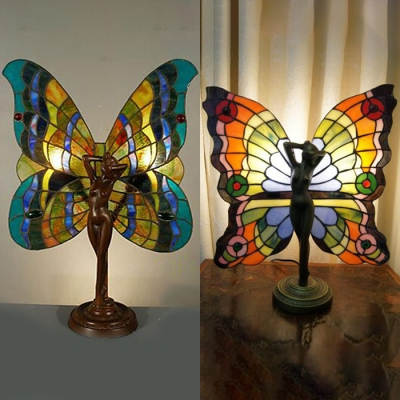 Antique Tiffany Angel Desk Light with Butterfly Wing Stained Glass Resin Table Lamp for Hotel