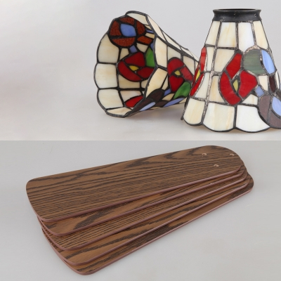 Bell Shade Cafe Ceiling Fan Stained Glass 3 Lights Rustic Semi Flushmount Light with Controller/Pull Chain