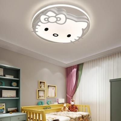 Blue/Pink/White Kitty Flush Light Cartoon Acrylic LED Ceiling Light in Warm/White/Third Gear for Girl Bedroom