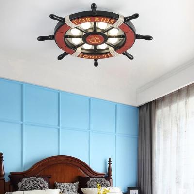 Brown Rudder LED Ceiling Lamp Letter/Seagull Nautical Metal Flush Mount Light for Kindergarten