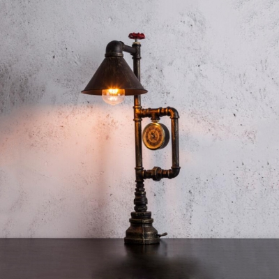 Cone Shade Cafe Desk Light with Water Pine Single Head Industrial Reading Light in Bronze