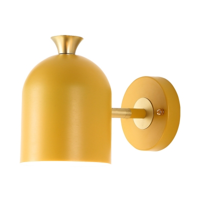Contemporary Macaron Colored Sconce Light Cup 1 Light Metal Sconce Lamp for Kids Bedroom