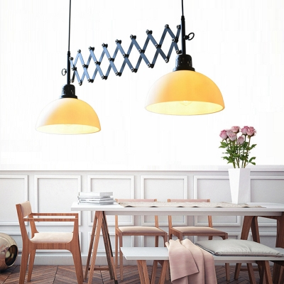 Dining Table Bowl Adjustable Pendant Light Clear/White Glass 2 Lights Antique Style Suspension Light