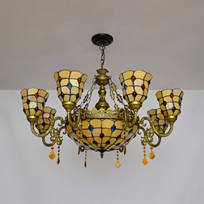 Dome Living Room Chandelier Glass 9 Lights Vintage Style Pendant Lamp with Colorful Bead & Crystal