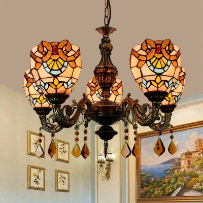 Dome Shade Bedroom Chandelier Stained Glass 5 Lights Tiffany Style Pendant Light with Crystal