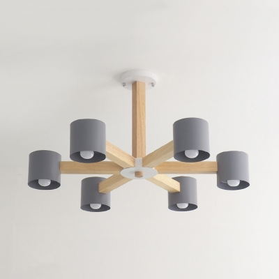 Drum Study Room Chandelier Wood 6/8 Lights Nordic Style LED Pendant Light in Gray/White/Yellow