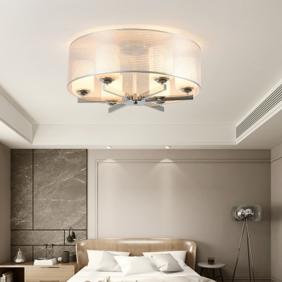 Frosted Glass Cylinder Semi Ceiling Mount Light 6 Lights Simple Style Ceiling Lamp in White for Bedroom