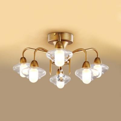 Glass Cylinder Semi Flush Mount Light 6 Lights Antique Style Ceiling