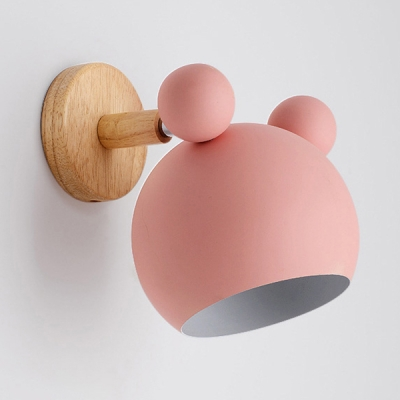 Globe Kids Bedroom Wall Sconce Metal 1 Light Cute Sconce Light in Macaron White/Green/Pink/Gray
